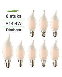 8 Pack E14 LED Kaars lamp vlam Filament Lybardo Frost Dimbaar 4W 2100K Extra Warm