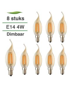 8 Pack E14 LED Kaars lamp vlam Filament Lybardo Rustique Dimbaar 4W 2500K Warm Wit