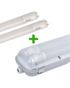 LED TL dubbel armatuur IP65 inclusief 2 x LED TL buis 7.6 Watt Nano Eco-Light 60 cm 4000K (natuur wit)