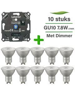 10 Pack Lybardo LED GU10 ITEC Dimbaar 7W 2700K + Lybardo ITEC 3-200W LED Dimmer Fase Afsnijding