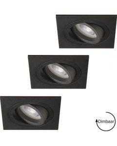Lybardo inbouwspots Vienna Zand Zwart Kantelbaar + Philips CorePro LED GU10 5W 2700K Warm Wit Dimbaar Set van 3