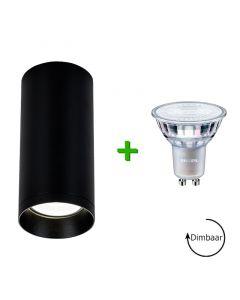 Opbouwspot Armatuur Ronda Zand Zwart + Philips LED GU10 spot Dimbaar 5W 2700K