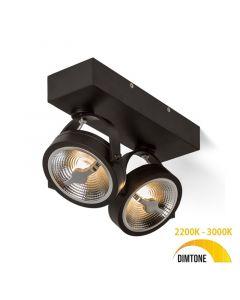Design spot / Plafondspot Yanara Mat Zwart Draaibaar en Kantelbaar - AR111 incl. 2 Lichtbronnen - 2 x 12W Dimtone 3000K - 2200K