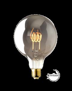 E27 LED lamp Vintage Globe 125 spiraal Lybardo Smoke 3.6W 2100K Extra Warm Dimbaar