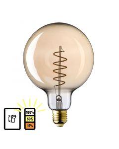 E27 LED Lamp Globe 125 spiraal Lybardo 3-stap Dimbaar Filament 4W 2500K Warm Wit