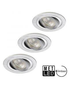 LED GU10 lamp 5.2W Dimbaar + inbouwspot Veneto alu 76mm in set van 3