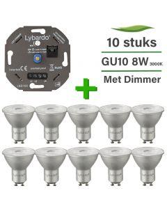 10 Pack Lybardo LED GU10 ITEC Dimbaar 8W 3000K + Lybardo ITEC 3-175W LED Dimmer Fase Afsnijding
