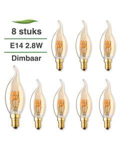 8 Pack E14 LED kaars lamp vlam spiraal Lybardo Gold 2.8W 2000K Dimbaar Extra Warm
