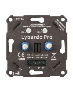 Lybardo ITEC 2 x 3-75W Pro LED Duo Dimmer - Fase Afsnijding - Universeel - Elektronische zekering