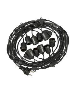 Lichtsnoer Lybardo 10 meter, 12 E27 fittingen, IP54 koppelbaar
