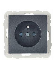 Wand contactdoos Lybardo inbouw 1-voudig Antraciet met randaarde pin BE