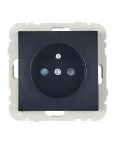 Wand contactdoos  Lybardo inbouw 1-voudig Zwart met randaarde pin BE