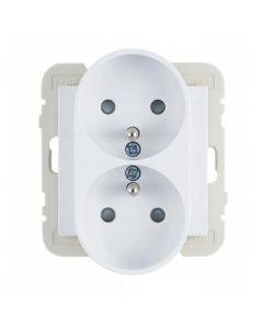 Wand contactdoos Lybardo dubbel opbouw wit,  2-voudig met randaarde pin BE