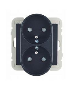 Wand contactdoos Lybardo dubbel opbouw zwart, 2-voudig met randaarde pin BE