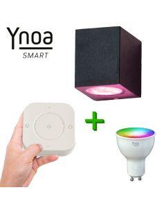 Ynoa Smart buitenset - 1 x Armatuur Nice + GU10 spot RGBW + 5-knops afstandsbediening