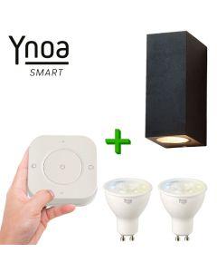 Ynoa Smart buitenset - 1 x Armatuur Cannes + 2 x GU10 spot CCT  + 5-knops afstandsbediening