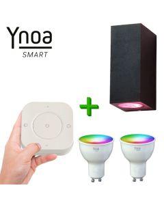 Ynoa Smart buitenset - 1 x Armatuur Cannes + 2 x GU10 spot RGBW  + 5-knops afstandsbediening