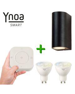 Ynoa Smart buitenset - 1 x Armatuur St. Tropez + 2 x GU10 spot CCT  + 5-knops afstandsbediening
