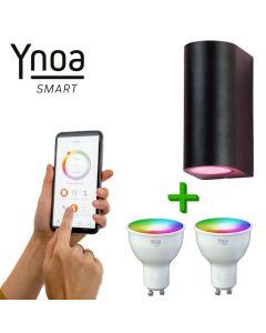 Ynoa Smart buitenset - 1 x Armatuur St. Tropez + 2 x GU10 spot RGBW