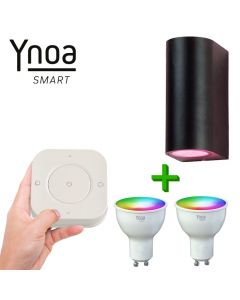 Ynoa Smart buitenset - 1 x Armatuur St. Tropez + 2 x GU10 spot RGBW  + 5-knops afstandsbediening