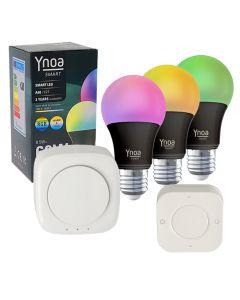 Ynoa Smart starterpack - Hub + 3 x E27 lamp RGBW zwart + 5-knops afstandsbediening