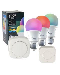 Ynoa Smart starterpack - Hub + 3 x E27 lamp RGBW wit + 5-knops afstandsbediening
