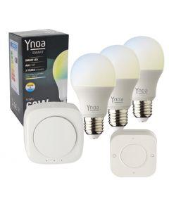 Ynoa Smart starterpack - Hub + 3 x E27 lamp CCT + 5-knops afstandsbediening