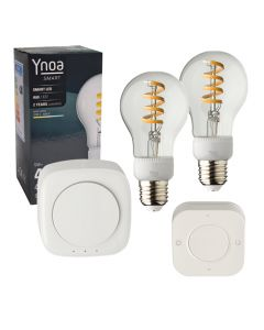 Ynoa Smart starterpack - Hub + 2 x E27 lamp filament CCT + 5-knops afstandsbediening