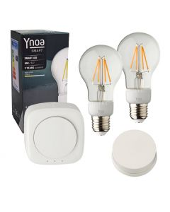 Ynoa Smart starterpack - Hub + 2 x E27 lamp filament dimbaar + 1-knops afstandsbediening