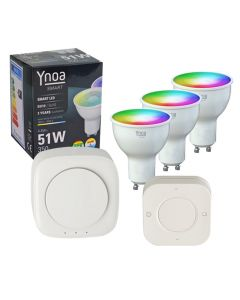 Ynoa Smart starterpack - Hub + 3 x GU10 spot RGBW + 5-knops afstandsbediening