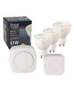 Ynoa Smart starterpack - Hub + 3 x GU10 spot CCT + 5-knops afstandsbediening