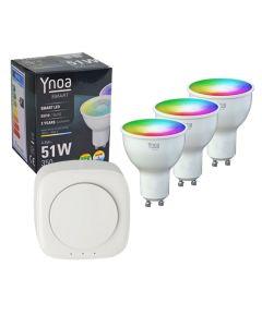 Ynoa Smart starterpack - Hub + 3 x GU10 spot RGBW