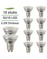 10 Pack LED GU10 Lybardo 5.2W 50 graden 2700K Warm Wit Dimbaar