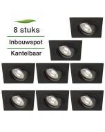 8 Stuks Lybardo Inbouwspot LED - Inbouw armatuur Vienna - Kantelbaar - Vierkant - Zand Zwart