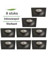 8 Stuks Lybardo Inbouwspot LED - Inbouw armatuur Dula - Vierkant - Zand Zwart