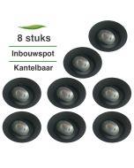 8 Stuks Lybardo Inbouwspot LED - Inbouw armatuur Monti - Kantelbaar - Rond - Zand Zwart