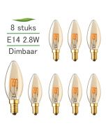 8 Pack E14 LED Kaarslamp Filament Lybardo Gold Dimbaar 2.8W 2000K Extra Warm Wit