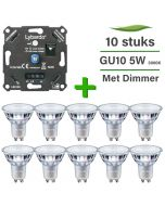 10 Pack Philips CorePro LED GU10 Dimbaar 5W 3000K + Lybardo ITEC 3-200W LED Dimmer Fase Afsnijding