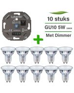 10 Pack Philips CorePro LED GU10 Dimbaar 5W 3000K + Lybardo ITEC 3-175W LED Dimmer Fase Afsnijding