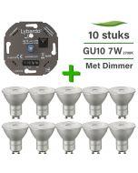 10 Pack Lybardo LED GU10 ITEC Dimbaar 7W 2700K + Lybardo ITEC 3-175W LED Dimmer Fase Afsnijding