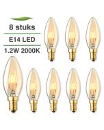 8 Pack E14 LED kaars lamp spiraal Lybardo Gold 1.2W 2000K Extra Warm 50 lm