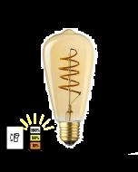E27 LED Lamp Edison Spiraal Lybardo 3-stap Dimbaar Filament 4W 2500K Warm Wit