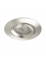 Inbouwspot LED - Inbouw armatuur Monti - Kantelbaar - Rond geborsteld aluminium